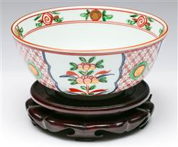 Sale 9173 - Lot 63 - A Chinese hand painted bowl on timber stand  (H:12cm Dia:19cm)
