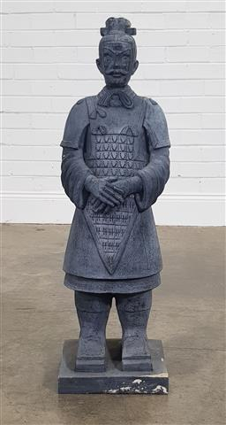 Sale 9188 - Lot 1279 - Carved timber statue of a Chinese warrior - some wear (H:93cm)