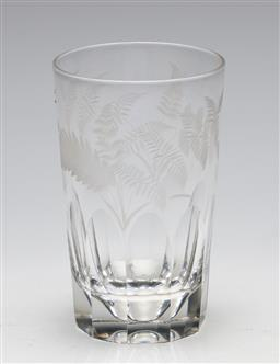 Sale 9246 - Lot 55 - A 19th century style crystal fern etched whiskey tumbler (H:11.5cm)