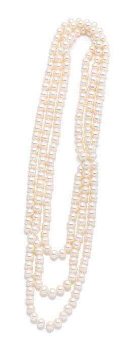 Sale 9260H - Lot 386 - A cultured freshwater pearl strand flapper necklace; 7.5-7.8mm oval pearls, length 160cm.