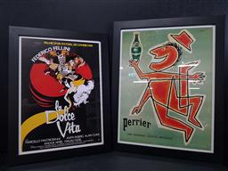Sale 9254 - Lot 2070 - 2 Works: A framed Perrier advertisement after original together with a reproduction Cannes Film festival poster for Fellins Beatifu...