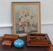Sale 8677B - Lot 867 - A group of wares including a still life print, a bridge box in walnut, a stand and two sundry lacquered boxes.