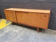 Sale 9002 - Lot 1076 - Vintage Sideboard with Four Drawers and Two Sliding Doors  (H:74 W:183 D:41cm)