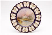 Sale 9057 - Lot 30 - A Royal Doulton Cawdor Castle handpainted cabinet plate, signed JA Bailey to lower right (Dia26cm)