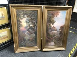 Sale 9152 - Lot 2028 - Pair of early C20th Countryscapes and Cottage scenes  oil on canvas, 110 x 64 cm, each signed lower right