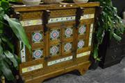 Sale 8058 - Lot 1009 - Large Carved Indian Dowry Chest w Horse Head & Tile Decoration (with secret compartment)