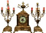 Sale 8065 - Lot 71 - Raison & Thomas French Brown Marble Clock Garniture