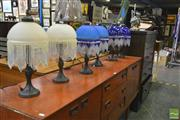 Sale 8257 - Lot 1031 - Three Pairs of Beaded Shade Table Lamps