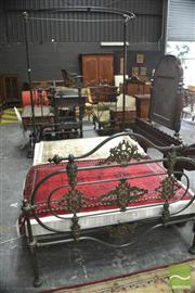 Sale 8291 - Lot 1050 - Victorian Cast Iron Half Tester Double Bed, painted dark green