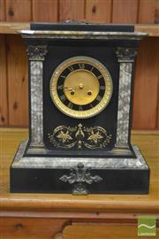 Sale 8291 - Lot 1019A - Fine 19th Century Japy Freres Black Slate Mantle Clock, with gilt recessed dial, the face with coloured marble, bras mounts and gilt...
