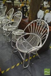 Sale 8398 - Lot 1060 - Pair of Cane Armchairs & Side Table (missing glass top)