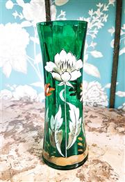 Sale 8577 - Lot 49 - A decorative antique Victorian tall green vase featuring beautiful handpainted detail & gilded accents- Condition: Very Good - Measu...