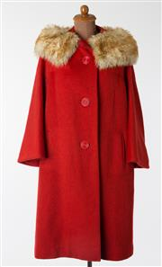 Sale 8550F - Lot 73 - An English made vintage red wool and mohair mix coat with faux fur collar and large red buttons, size 12.