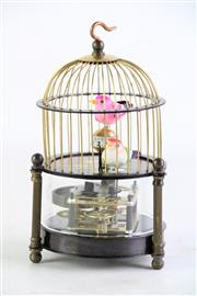Sale 8852 - Lot 57 - A Bird Cage Themed Clock (H:16cm)
