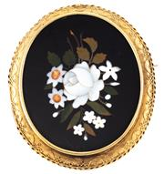 Sale 8946 - Lot 366 - AN ANTIQUE 18CT GOLD PIETRA DURA BROOCH 45.5 x 37.5mm central panel featuring a floral bouquet (minor damage) set in a decorative fr...