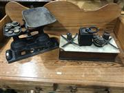 Sale 8976 - Lot 1058 - Antique Cast Iron Set of Scales, A Marble Topped Example & Some Weights (marble scales without trays/ other tray not original)