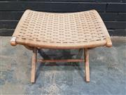 Sale 9039 - Lot 1017 - Folding Foot Stool with Rush Upholstery (h:38 x w:50 x d:40cm)