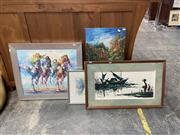 Sale 9069 - Lot 2086 - Group of Assorted Paintings incl. Polo Players, Retro Junk Ship, and Landscape Paintings