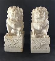 Sale 9080G - Lot 49 - Two Carved Stone Foo Dog Statue . General Wear. Marks,some staining etc. Size : 30 cm H X15cm L x11cm W