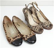 Sale 9081H - Lot 78 - A pair of Perugia suede leopard print timber wedge heels, size 39 together with a pair of leopard print flats, size 39