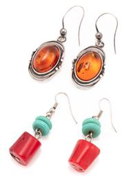 Sale 9095 - Lot 324 - TWO PAIRS OF GEM STONE EARRINGS; Arts and Crafts style silver drops set with oval cabochon reconstituted amber on shepherds hooks, o...