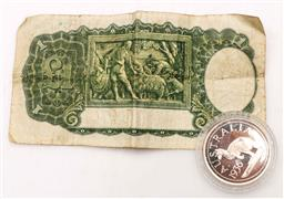 Sale 9110 - Lot 63 - A Commonwealth of Australia One Pound Note together with A Cased Commemorative Coin
