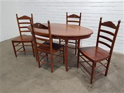 Sale 9146 - Lot 1047 - Oval timber dining table with 4 ladderback chairs (h70 x w150 x d80cm)