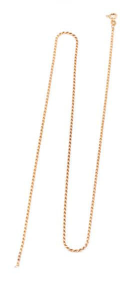 Sale 9177 - Lot 342 - A 9CT GOLD ROPE CHAIN; 1.6 mm wide rope chain to bolt ring clasp, length 57mm, wt. 6.04g.