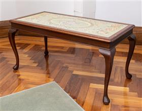 Sale 9195H - Lot 12 - A tapestry inlaid glass top coffee table with cabriole legs, Height 48cm x Width 98cm x Depth 47cm