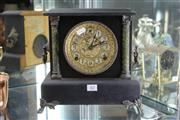 Sale 8261 - Lot 62 - Sessions Gilt Faced Timber Mantle Clock
