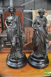 Sale 8291 - Lot 1047A - Pair Late 19th Century French Spelter Figures, of Agriculture & Industrie (missing attribute), on ebonised socles