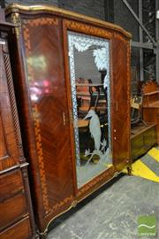 Sale 8500 - Lot 1079 - Early 20th Century Mahogany and Satinwood Armoire with Central Later Etched Mirrored Door to Match and Two Side Doors