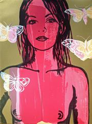 Sale 8507A - Lot 5015 - David Bromley (1960 - ) - Belinda with Butterflies 76 x 56.5cm