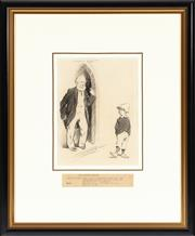 Sale 8908H - Lot 40 - NORMAN LINDSAY (1879 - 1969) - His Soaring Ambition pencil sketch on paper