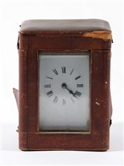 Sale 9010 - Lot 73 - French Brass Carriage Clock in Case, Movement Marked S F, With Key(H:11cm)