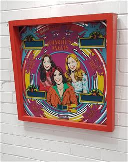 Sale 9117 - Lot 1018 - Vintage Charlies Angles Glass Pinball back in original frame (h:73 x d:73cm)