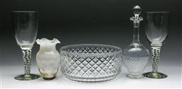 Sale 9144 - Lot 448 - Violetta crystal bowl (Dia:24cm) together with other glass ware inc over sized goblets (H:25cm) decanter and vase