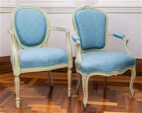 Sale 9195H - Lot 6 - A pair of Louis XV style elbow chairs with blue fabric upholstery, Height 90cm x Width 91cm
