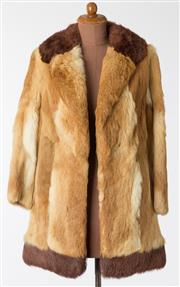 Sale 8550F - Lot 74 - A vintage caramel coloured rabbit fur coat with brown collar and trim at the bottom, size S.