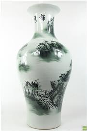 Sale 8581 - Lot 75 - Chinese Pair Of Ceramic Vases with Mountain and Bush Scenes ( H 68)