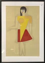 Sale 8682 - Lot 2004 - Tullio Crali (1932 - 1995) Untitled (Red Skirt) colour lithograph ed. 143/200, 60.5 x 41cm (frame:75.5 x 53.5cm), signed lower right