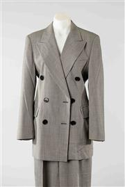 Sale 8740F - Lot 107 - An Escada, Margaretha Ley woolen double breasted houndstooth suit, to include jacket (38) and pants (36)