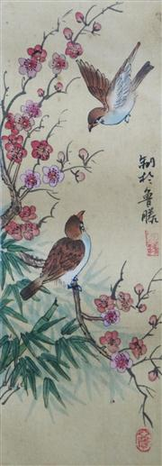Sale 8813A - Lot 5097 - Chinese School (3 works) - Sparrows, c1920 26 x 9cm, each