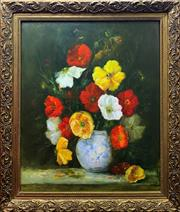 Sale 8910 - Lot 2027 - Artist Unknown Still Life - Poppies oil on board, 68 x 58 cm, signed