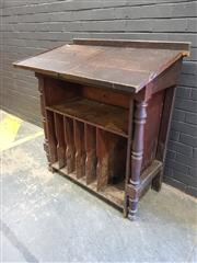 Sale 9006 - Lot 1021 - Vintage Oak Twin Lift Top Clerks Desk (h:118 x w:103 x d:62cm)