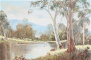 Sale 9055A - Lot 5069 - Rod Rowland (1939 - ) - Gums Trees & Tranquil River, 1981 90 x 59 cm (frame: 86 x 117 x 4 cm)