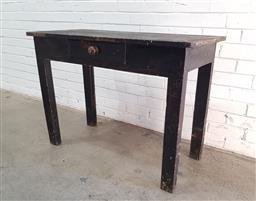 Sale 9108 - Lot 1044 - Timber desk with single drawer (h:76 w:106 d:50cm)