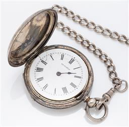 Sale 9180E - Lot 107 - A La Fidele 935 silver pocket watch on silver chain, Diameter 4.5cm  crack to enamel face, total combined weight 67.6g (incl. chai...