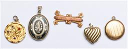 Sale 9144 - Lot 183 - A Victorian Niello & rolled gold locket pendant together with others