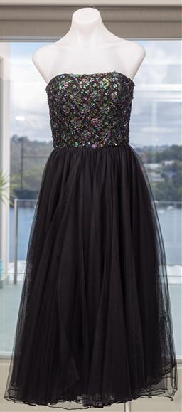 Sale 9162H - Lot 91 - A Christopher Essex Sequined dress with netting overlay & invisible back zip fastening. Designed in Australia. size s